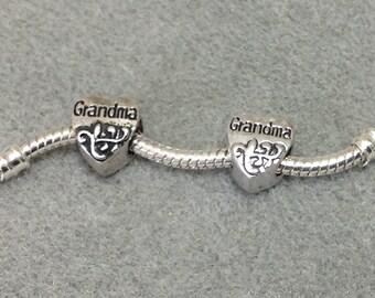 Charm Bead Antique Silver Plated Heart Grandma European Style  CH106