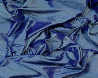 "Iridescent Steel Blue Dupioni Silk, 100% Silk Fabric, 44"" Wide, By The Yard (S-229)"