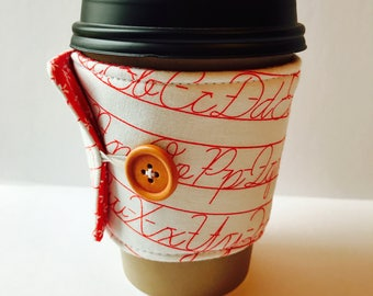 Penmanship Coffee Cozy - Coffee Cup Sleeve - Reusable Cup Sleeve - Teacher Gift