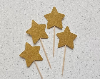 Star Cake Toppers, Glitter Gold Stars, Cupcake Toppers, Cake Decorations, Star Cupcake toppers, Wedding Toppers, Baby Shower Toppers
