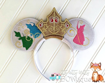 Sleeping Beauty. Princess Aurora. Flora, Fauna, and Merryweather. Mouse Ears