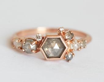 Diamond Cluster Ring, Grey Diamond Ring, Hexagon Cluster Ring, Rose Cut Diamond Ring, Grey Rose Cut Diamond Ring, One Of A Kind Diamond Ring