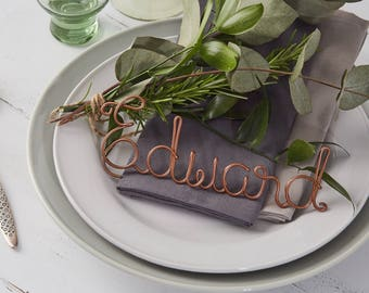 20 Copper Place Settings, name wedding favours, copper table names, wire table names, wire names, christmas place settings, wedding favours
