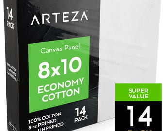 Arteza 8x10 Canvas Panel, Economy-Cotton (Pack of 14)