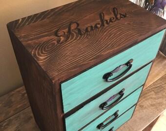 Jewelry box, 4 drawer, jewelry holder, turquoise, makeup organizer, organizer, nursery