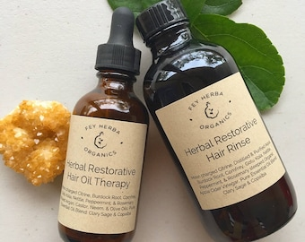 Herbal Hair Restorative Therapy: Hot Oil & Rinse