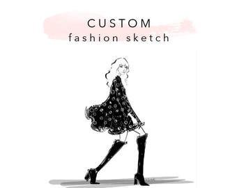 Custom Fashion Sketch - illustration Drawing blogger