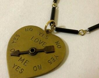 Love Meter Spinning Arrow Heart Necklace