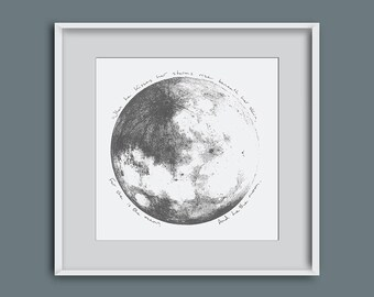 Picture of the moon, moon illustration, moon giclee print, moon wall art, lunar wall art, moon art, home decor, wedding present, moon quote