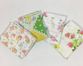 Vintage Sheet Fat Quarter Bundle in Pink Green Yellow Flowers Floral Roses Set of 4
