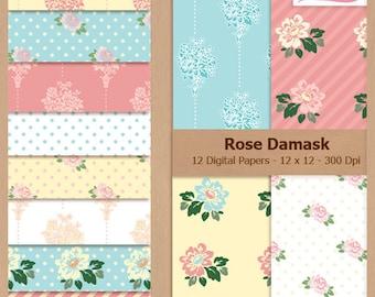 Digital Scrapbook Paper Pack - ROSE DAMASK - Instant Download