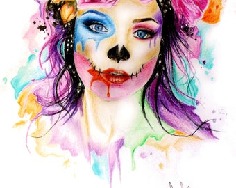Sugar Skull girl flower crown print