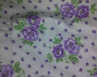 White Flannel Fabric w/Purple Roses