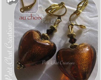"""CLIPS OR CHOOSE GLASS AMBER CRYSTALS """"SWEET POISON"""" HEART EARRINGS"""