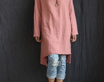Women LInen and Cotton T-Shirt – Round Nick Long cotton and linen dress-style long t-shirts