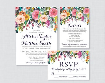 Printable OR Printed Wedding Invitation Suite - Floral Wedding Invitation Package - Shabby Chic, Colorful Flower Wedding Invites 0003-B