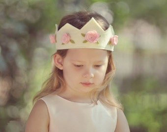 Felt Crown with Roses, Birthday Crown,  Princess Crown, Shabby Chic, Flower Girl, Photo Prop, Smash Cake