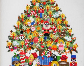 Crewel Embroidery Christmas Tree Art, Christmas Tree Fantasy by Chris Davenport, Completed Piece, Vintage Hand Made Fiber Art