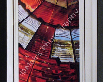 Red & White Fresnel Lens Glass Oregon Lighthouse Travel, Birthday Card, Eco-Friendly, Get Well All Occasion, Blank Greeting Card, Photo Card