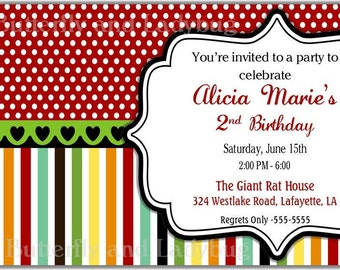 Multicolor Stripes and Polka Dots-Personalized Printable Digital DIY Invite or Card ( Any Wording or Text)