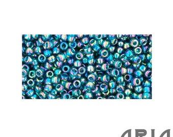 TEAL Transparent RAINBOW (167BD): 11/o Toho Japanese Seed Beads (10 grams)