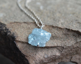 Raw Aquamarine Silver Necklace March Birthstone