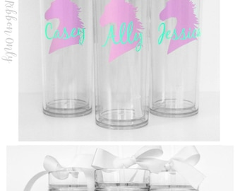 Custom skinny tumblers, bridal set, personalized cups, bridal shower gift, wedding gift, wedding favors, bridesmaids gift, wedding cups