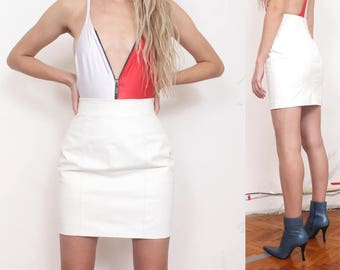 90s white leather minimal high waist pencil skirt s m