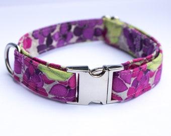 Flower Print Cotton Adjustable Dog Collar/Colourful Dog Colour/Floral Dog Collars/Collari Cani/Small Dog Collars/Puppy Collars