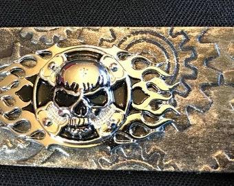 Skull & Fire Steampunk Gears Leather Bracelet