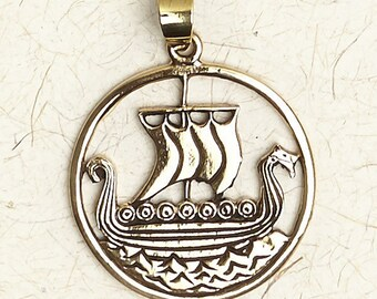 Norse Viking Ship-Bronze-Medieval/Pendant