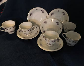Set of 5 Mini Tea Cup/Saucers in Moss Rose China