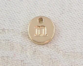 1 or 5, Initial Charm, Charm Bracelet, Lower Case Letter, Gold Letter, Initial Pendant, Alphabet Charm, Lower Case Charm, ALF021n-GL