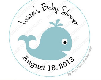 Baby Whale Stickers,  Baby Shower stickers, Whale Baby Shower or Birthday PRINTED round Stickers, tags, Labels or Envelope Seals  A809