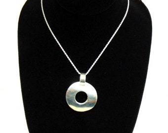 Womens Vintage Estate Sterling Silver Modern Style Pendant w/ Necklace  17.1g E1633