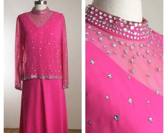 30% Off Sale 60s 70s Candy Pink Rhinestone Cocktail Dress, Size Large to XL