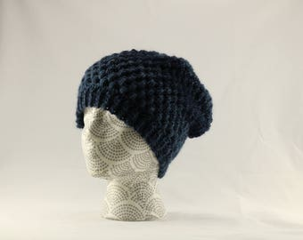 Large Blue Ombre Crocheted Winter Hat, Puff Stitch Winter Beanie, Adult Size Unisex, Blue Slouchy Hat, Faux Fur Pom Pom Hat