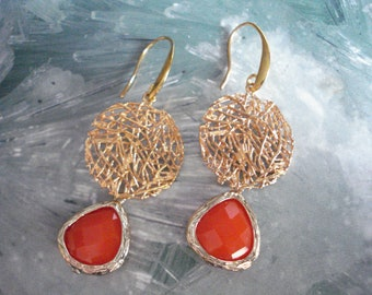 Gold coral earrings, Geometric dangles, Framed crystal drops, Bridesmaids gift, Gold crystal jewelry, Easter gifts, Mother's day gift.