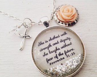 Proverbs 31 necklace/bible verse necklace/She is clothed in strength and dignity/Christian jewelry/Ch ristian gift/gift for her/faith gift