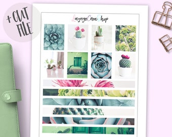 Printable Photography Kit Full Box and Washi Stickers, Cactus, Succulents, Flowers, Floral, Planner, Erin Condren, Photo, Bullet Journal