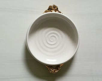 "GOLDRUSH - Shallow porcelain bowl with gold ""nugget"" handles.  Beautiful and functional ceramic bowl.  White and gold ceramic handmade bowl."