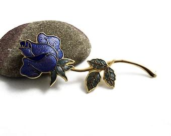 Vintage Cloisonne Enamel Brooch, Enamel Rose Pin, Purple Flower Brooch, Gold Tone Brooch, 1980s Jewellery