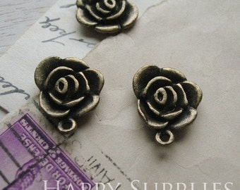 5Pcs Antiqued Vintage Brass Flower Charms (GG0041C)