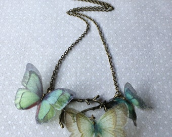 Butterfly Tree - Handmade Teal Aqua Seafoam Silk Organza Fabric Butterflies Necklace on Antique Bronze Branch Tree