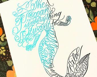 Mermaid foiled print