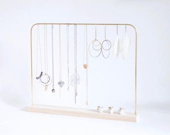 Necklace Holder - Brass & Wood / Jewelry organizer - Jewelry holder - Jewelry storage / Necklace stand - Jewelry stand - Earrings stand