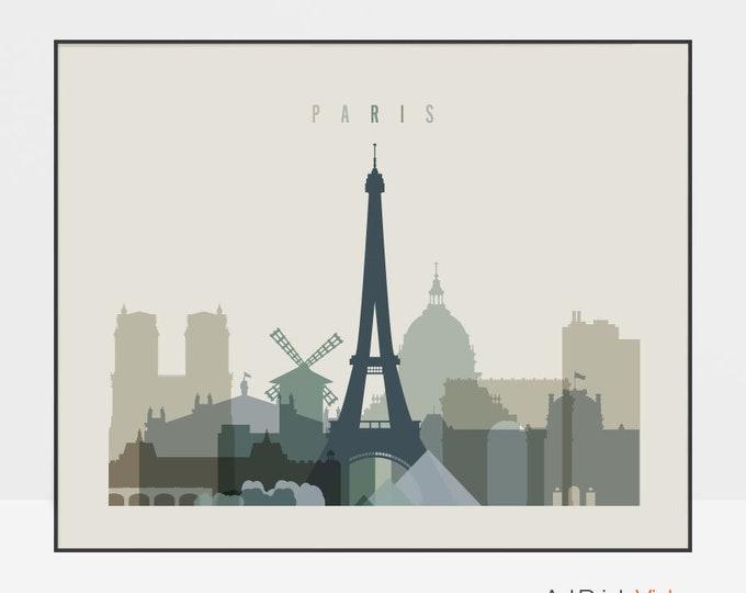 Paris wall art print, Paris skyline, travel gift, poster, cityscape art, travel decor, wall decor, ArtPrintsVicky