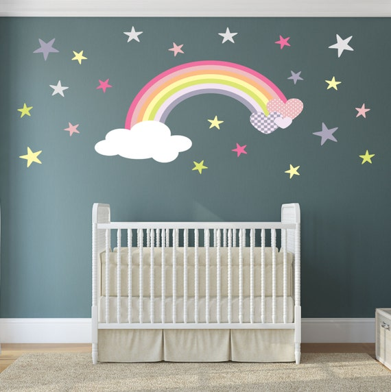 Rainbow Themed Room: Rainbow Wall Decal Girls Wall Stickers Nursery Baby Room