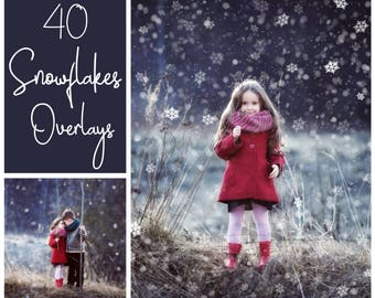 40 Dreamy Snowflakes Overlays - Snow Overlays - Christmas Overlays - Winter Background - Snow Background - PNG - Photoshop Overlays