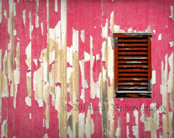 CLEARANCE Rustic Red Home Decor Barn Photo Pink Red Country Wall Art 5x7 inch Fine Art Photography Print The Peppermint Barn
